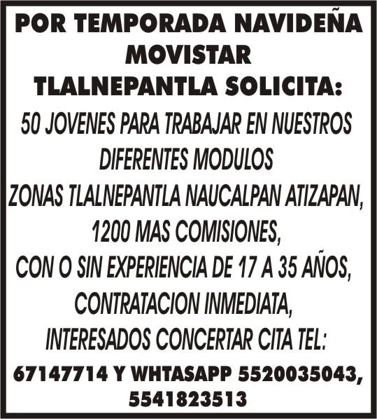 Por Temporada Navidena Movistar Tlalnepantla Solicita 50 Jovenes