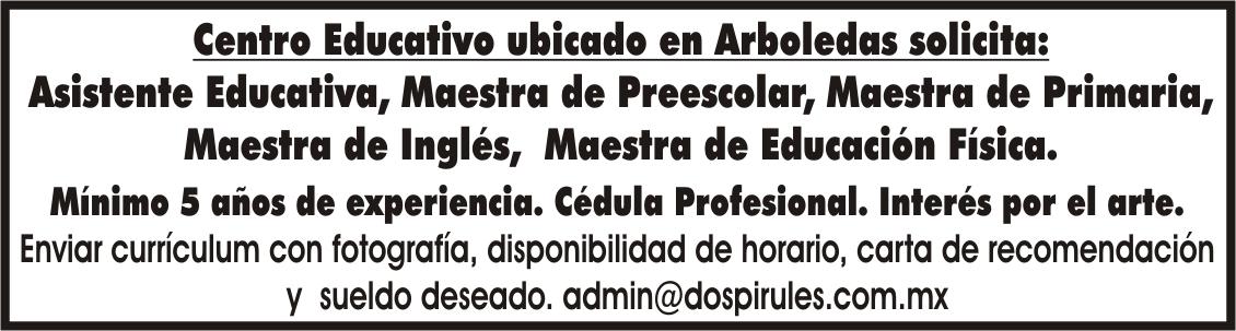 Centro Educativo Ubicado En Arboledas Solicita Asistente Educativa